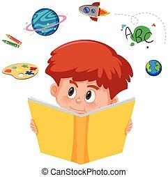 lezende , jongen, boek, jonge, verbeelding
