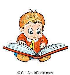 lezende , kinderen, boek, spotprent
