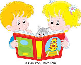 lezende , kinderen
