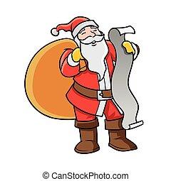 lezende , lijst, kerstman