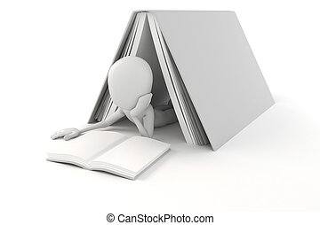 lezende , man, boek, 3d