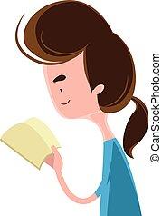 lezende , meisje, boek