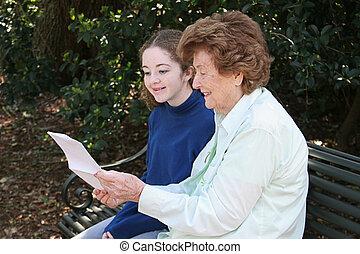 lezende , oma