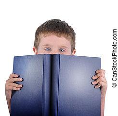 lezende , onderricht jongen, met, boek