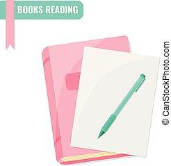 lezende , onderzoek, concept., boekjes , leerprogramma