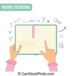 lezende , onderzoek, concept., boekjes , opleiding
