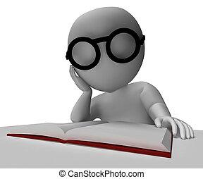 lezende , optredens, boek, student, onderzoek