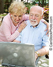 lezende , paar, e-mail, senior