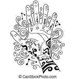 lezende , palm, hand, pictogram