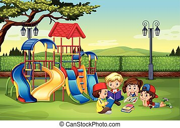 lezende , park, kinderen