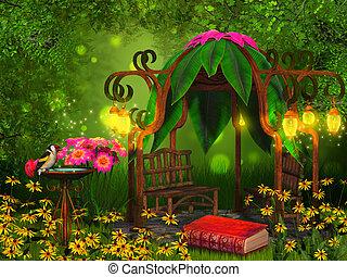 lezende , plek, magisch