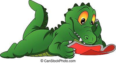 lezende , schattig, krokodil, boek, spotprent