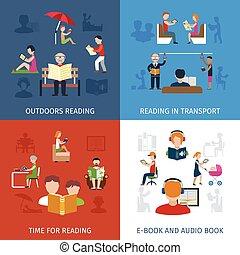 lezende , set, mensen