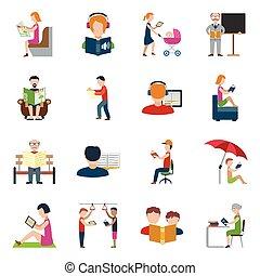 lezende , set, mensen, iconen