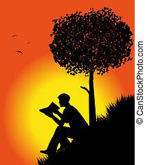 lezende , silhouette, boek, man