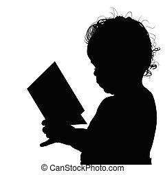 lezende , silhouette, illustratie, kind