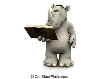lezende , spotprent, book., neushoorn