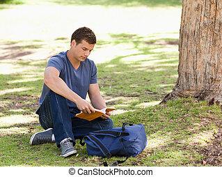 lezende , student, schoolboek