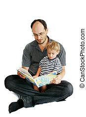 lezende , vader, boek, zoon