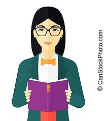 lezende , vrouw, book.