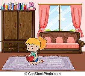 lezende , weinig; niet zo(veel), boek, meisje, slaapkamer