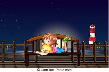 lezende , weinig; niet zo(veel), nachtmeisje, bankje