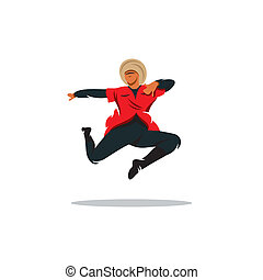 Lezginka dance vector sign - Artist in traditional costume...