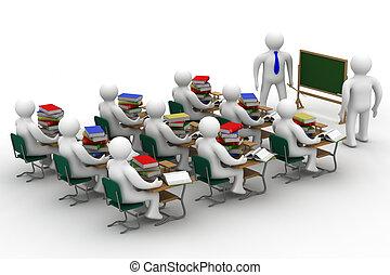 lezione, in, uno, scuola, class., isolato, 3d, image.