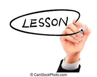 lezione, mano, scritto,  3D