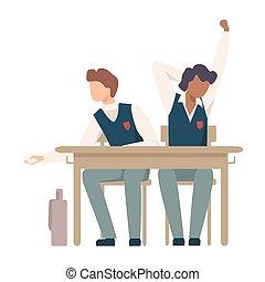 lezione, ragazzi, sbadigliare, vettore, durante, illustrazione, scrivania scolastica, seduta
