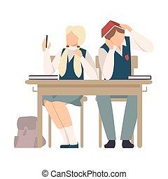 lezione, sedendo ragazza, vettore, durante, illustrazione, scrivania scolastica, selfie, fabbricazione