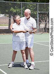 lezione, tennis, -, donna senior