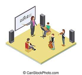 lezione, vettore, bambini, musica, class., isometrico, orchestra, scuola, concept.