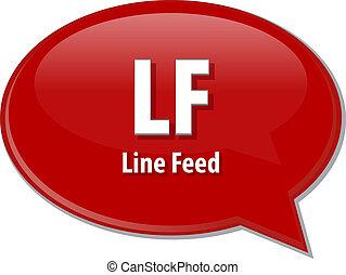 lf, definizione, acronimo, illustrazione, bolla discorso
