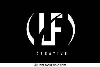 lf, f, l, fondo., disegno, lettera, logotipo, bianco, nero