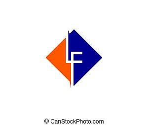 lf, lettera, iniziale, disegno, sagoma, logotipo