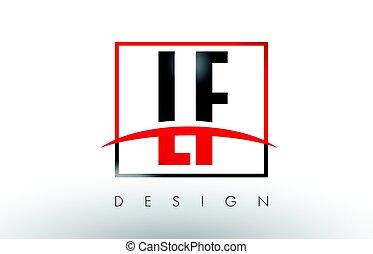 lf, lettere, f, l, colori, nero, logotipo, swoosh., rosso