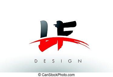 lf, lettere, f, l, nero, spazzola, swoosh, fronte, logotipo,...