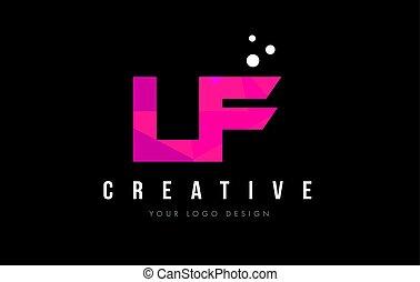lf, rosa, concetto, f, viola, l, poly, basso, lettera,...