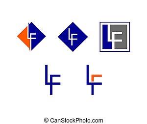 lf, set, sagoma, iniziale, disegno, lettera, logotipo