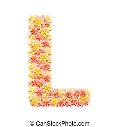 L,flower alphabet isolated on white
