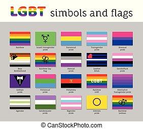 lgbt, セット, 平ら, 動き, 旗, アイコン, シンボル