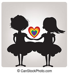 lgbt - a pair of black silhouettes of lesbians with a heart