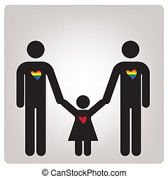 lgbt - a pair of man with a children and some colored hearts