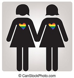 a pair of woman with colored hearts in grey background