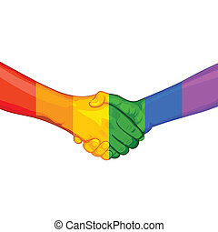 LGBT Awarness Concept - illustration of handshake with...