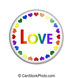 lgbt, bouton, amour