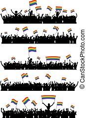LGBT cheering crowd