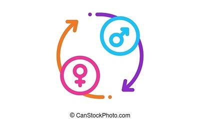 lgbt circle arrows Icon Animation. color lgbt circle arrows animated icon on white background