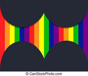 LGBT community flag with 3D hearts on black background